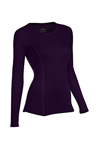 ColdPruf Women's Platinum Dual Layer Long Sleeve Crew Neck Top, Eggplant, XX Large (Bullet In The Back Of The Neck)