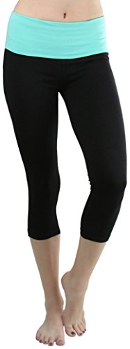 ToBeInStyle Women's Contrast High Waist Capri Leggings - Mint/Black - Small