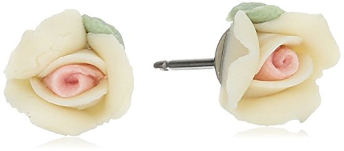 1928 Jewelry Ivory Color Porcelain Rose Stud Earrings