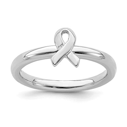 925 Sterling Silver Awareness Ribbon Band Ring Size 6.00 Stackable Fine Jewelry Gifts For Women For Her