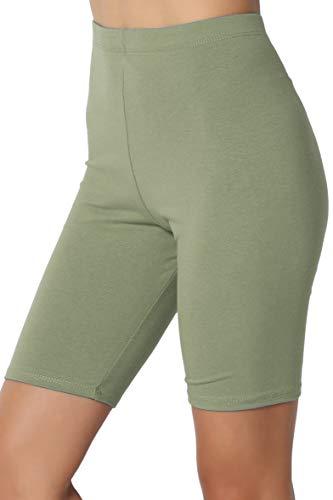 Thigh Cotton High Waist Active Short Leggings Dusty Olive M ()