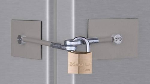 Refrigerator Door Lock Kit - NO PADLOCK (Stainless) by Marinelock