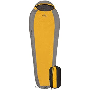 TETON Sports TrailHead +20F Ultralight Sleeping Bag Perfect for Backpacking, Hiking, and Camping; Orange/Grey