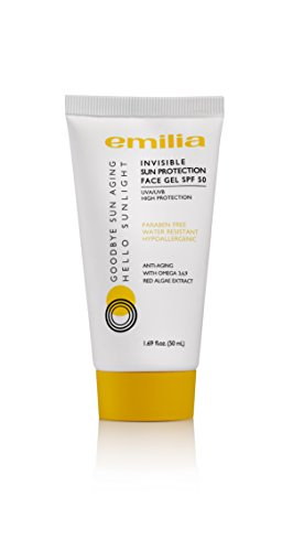 Emilia Invisible Sun Protection Face Gel Waterproof Sunscreen for Sensitive Skin, SPF 50 for Clear, Protection from UVA/UVB Rays, Hypoallergenic with Omega 3,6,9, and Red Algae Extract ()