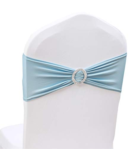 100PCS Stretch Wedding Chair Bands with Buckle Slider Sashes Bow Decorations 10 Colors (Light Blue)