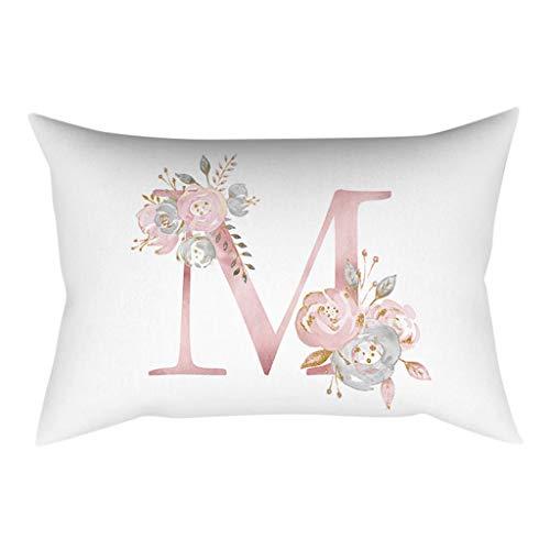 QBQCBB 30x50 cm Kinder Zimmer Dekoration Brief Kissen Englisch Alphabet Pillowcases(M)