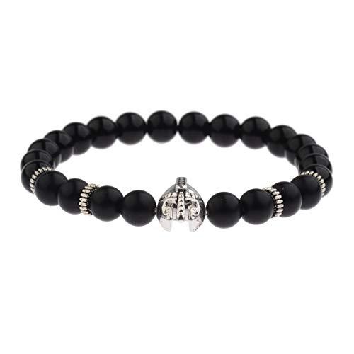 (Mikash Mens Natural Stone Howlite Gold Helmet Beaded Bracelets Black Onyx Stone Bangle | Model BRCLT - 7031 |)