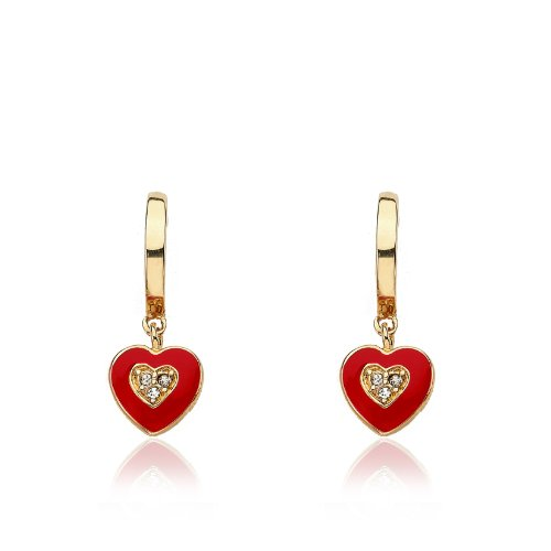 Little Miss Twin Stars Girls' I Love My Jewels 14k Gold-Plated Hoop Earrings with Red Enamel Heart (Heart Gold Enamel)
