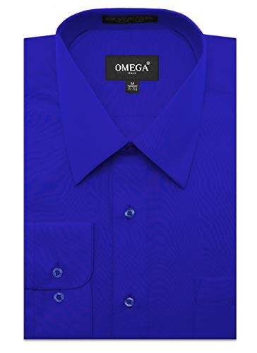 (JC DISTRO Men's Regular Fit Dress Shirt w/Pocket 18-18.5 Neck-36/37Sleeve (2XL) RoyalBlue)