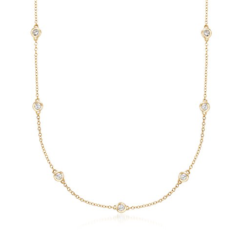 Ross-Simons 0.33 ct. t.w. Graduated Bezel-Set Diamond Station Necklace in 14kt Yellow Gold ()