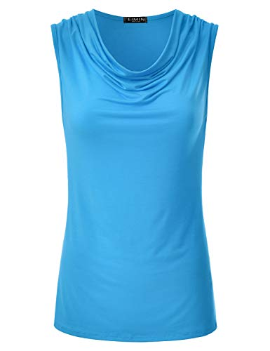 (EIMIN Women's Cowl Neck Ruched Draped Sleeveless Stretchy Blouse Tank Top Turquoise S)