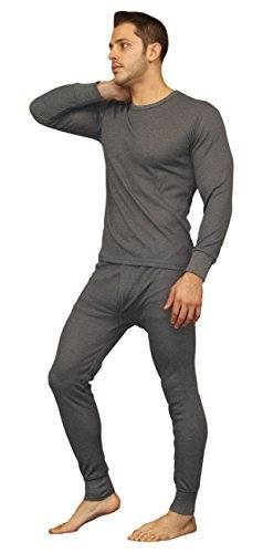 efe3c3b598a1 Galleon - Men's Soft 100% Cotton Thermal Underwear Long Johns Sets - Waffle  - Fleece Lined (2X-Large, Waffle - Charcoal)