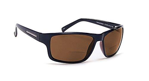 Coyote Eyewear BP-13 Polarized Bi-Focal Reading Sunglasses in Black w/ Brown Lens +1.00