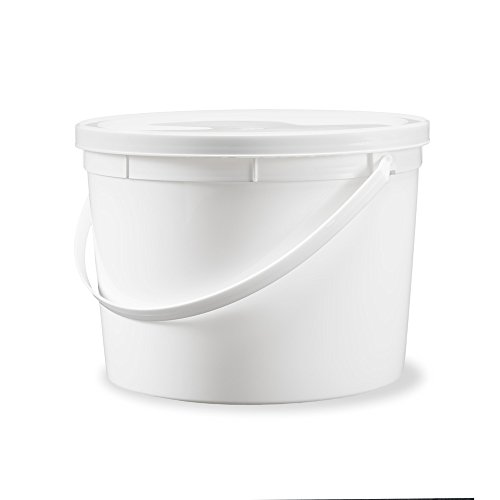1 Gallon Food Grade Plastic Bucket - White, BPA Free Storage Pail with Lid and Handle - Recyclable - 12 Pack (Treat Pail Plastic)