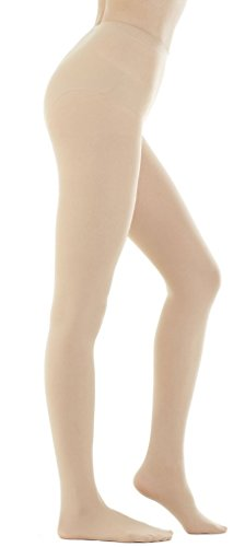 DZSbestdeal Women's 280 Denier Opaque Solid Color Footed Pantyhose Tights Skin Beige One Size: XS to M