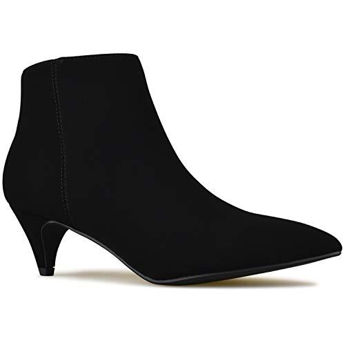 Premier Standard - Women's Zipper Closed Toe Ankle Bootie - Comfortable Thin Heel– Low Heel Comfortable Walking Booties Black Nbpu