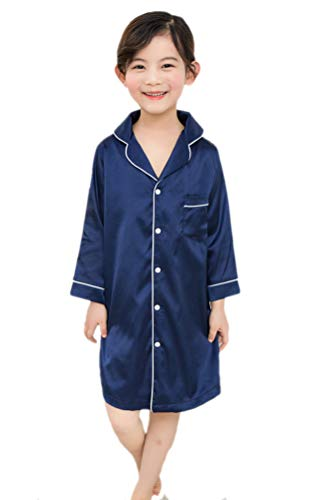 Horcute Satin Girls Button-Front Sleep Nightshirts Pajamas Nightgown Navy 160# 8-9Y ()