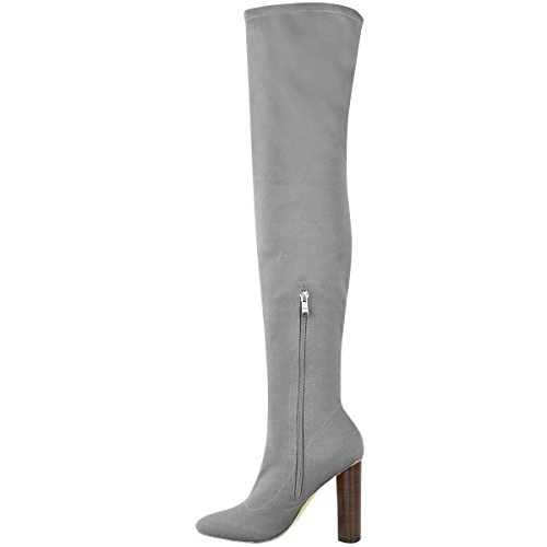 Fashion Thirsty Womens Thigh High Stretch Knit Boots Over The Knee High Heels Size Grey Fine Knit yV5X4dm