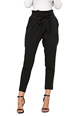Simplee Apparel Women's Slim Straight Leg Stretch Casual Pants with Pockets