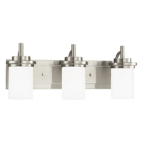 Glass Etched Satin - Sea Gull Lighting 44662-962 Winnetka Three-Light Bath or Wall Light Fixture with Satin Etched Glass Shades, Brushed Nickel Finish