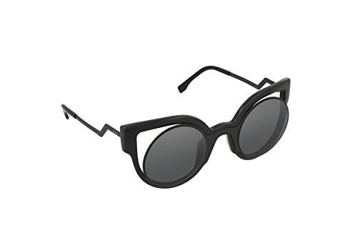 Fendi Women's Round Cutout Sunglasses, Matte Shiny Black/Dark Grey, One Size (Sunglasses Retro Fendi)