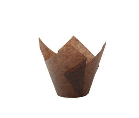 Tulips Dark Brown Silicone Baking Cup Liner (Case of 1000), PacknWood - Dark Brown Parchment Paper Cupcake Liners (1 oz) 209CPST1CH by PacknWood