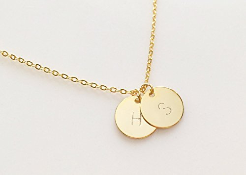SAME DAY SHIPPING before 3 PM EST Personalized Disc Initial Necklace Dainty Necklace Monogram Disc Charm Gold Initial Your Name Necklace - (Simple Monogram)