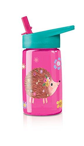 Crocodile Creek Kids Hedgehog Flip Straw Girls Tritan Drinking Bottle, Pink, (Girl Hedgehog)