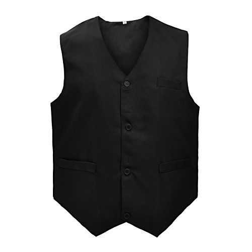 Unisex Vest (TopTie Waiter Bartender Uniform Unisex Button Vest For Supermarket Clerk & Volunteer-Black-US Size S)