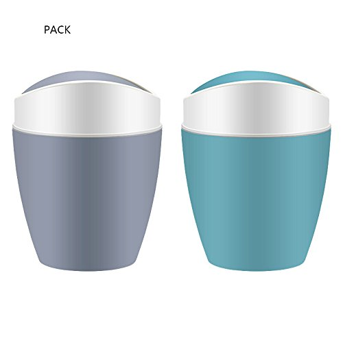BingWS Trash Cans Plastic Oval Swing Cover Household Trash Can, Modern Creative, Living Room Bedroom Kitchen Toilet Office Wastebasket, 9L, 2 Pack Trash, Recycling & Compost Arc Ellipse 2 Light