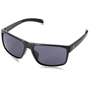 adidas Mens Whipstart a423 6050 Rectangular Sunglasses, Black Shiny, 61 mm
