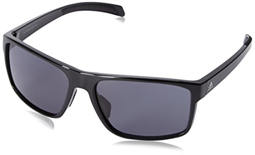 adidas Mens Whipstart a423 6050 Rectangular Sunglasses, Black Shiny, 61 - Sunglasses Parts Spare