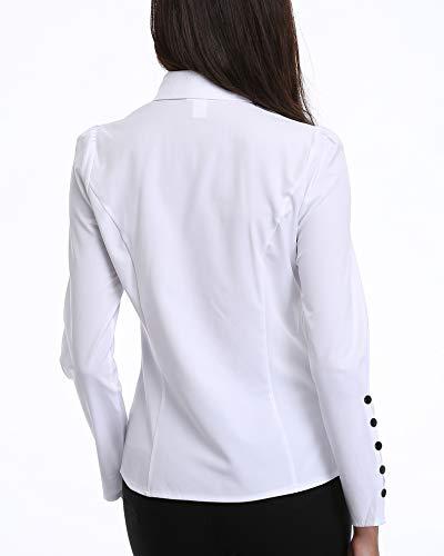 Ladies Casual Para Moly Mangas Y Oficina Fruncen Blusas Abotonadas Tops El Cuello Formal Blanco Camisas Workwear Mujeres Señoras V Frente Miss Largas Casuales IdwP8qI