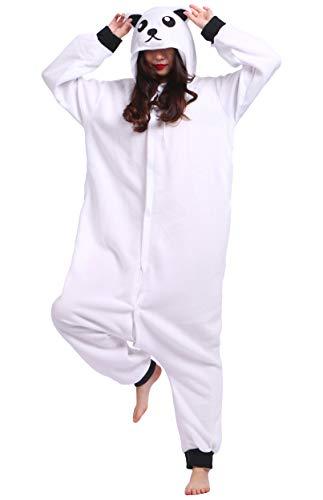 Adult Unisex Animal Pajamas Plush Cosplay Costume Onesie, White Bear ()