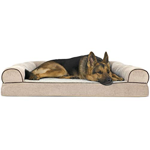 Chenille Pet Bed - Furhaven Pet Dog Bed | Orthopedic Faux Fleece & Chenille Soft Woven Sofa-Style Living Room Couch Pet Bed for Dogs & Cats, Cream, Jumbo