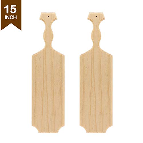 Battife Sorority Paddle 15'' Inch Greek Fraternity Paddle Unfinished Wooden Pine - 100% Solid Wood Paddle [2Pack] ()