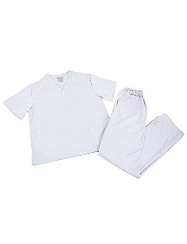 Women's Scrub Set - Medical Scrub Top and Pant, White, XX-Small ()