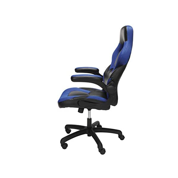 OFM Essentials Collection Racing Style Bonded Leather Gaming Chair, in Blue (ESS-3085-BLU)