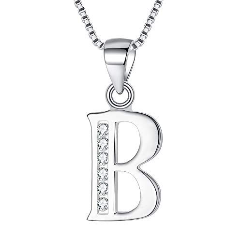 BriLove 925 Sterling Silver B Initial Necklace Letter Alphabet Cubic Zirconia Pendant Necklace for Women Clear -