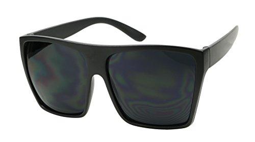 Basik Eyewear - Big XL Large Square Trapezoid Shape Oversized Fashion Sunglasses (Matte Black, SUPER Dark Black)