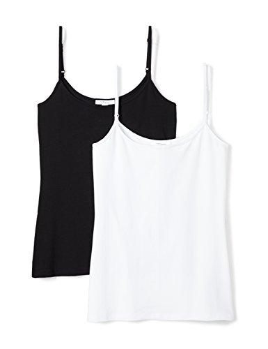 Stretch Cotton Camisole - Daily Ritual Women's Stretch Supima Camisole, 2-Pack, L, Black/White