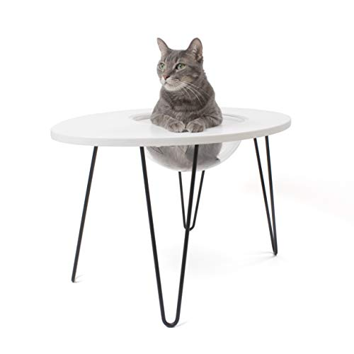 PRIMETIME PETZ Hauspanther Nestegg – Raised Cat Bed & Side Table, White