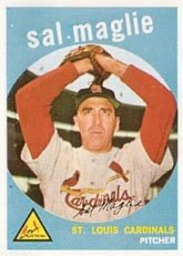 1959 Topps Regular (Baseball) Card# 309 Sal Maglie of the St. Louis Cardinals VG Condition