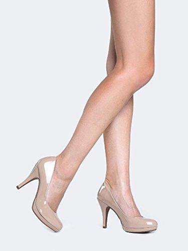 MARCOREPUBLIC Rome Memory Foam Cushion Womens Low Platform Heels Comfort Pumps - (Dark Beige Patent) - 11 by MARCOREPUBLIC (Image #3)