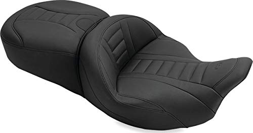 Mustang 79006 Super Touring Deluxe One-Piece 2-Up Motorcycle Seat for Harley-Davidson FL Touring 2008-19