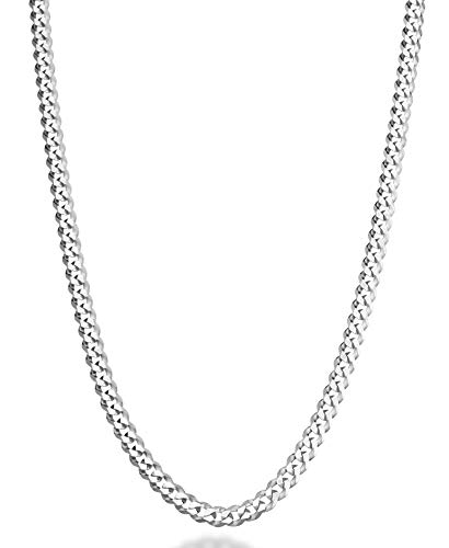 (MiaBella Solid 925 Sterling Silver Italian 5mm Diamond Cut Cuban Link Curb Chain Necklace for Women Men, 16