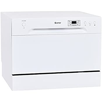 Costway Countertop Dishwasher Stainless Steel 6 Place Setting Portable  Compact Tabletop Kitchen, White