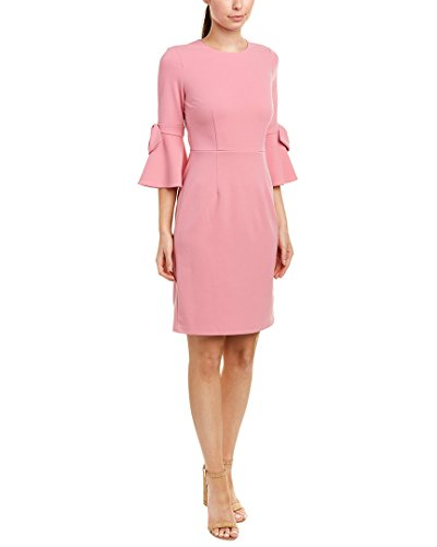 Donna Morgan Women's 3/4 Bell Sleeve Shift Dress with Bow Detail, Pink Sherbet, 10