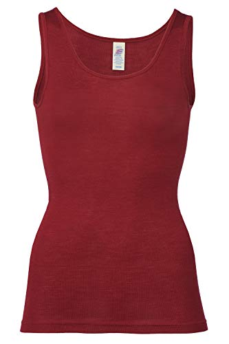 EcoAble Apparel Women's Thermal Tank Top for Layering, 70% Organic Merino Wool 30% Silk (42-44 / Medium, Red Mallow)