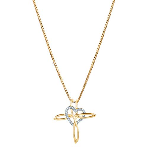 14K Yellow Gold Diamond Accent Cross Heart Pendant ()